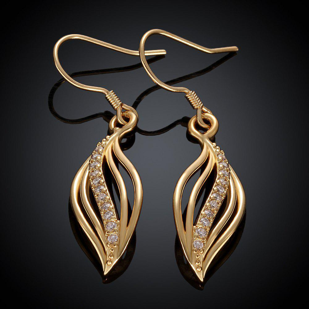 Pair of Rhinestone Openwork Leaf Pendant Earrings -