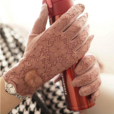 Pair of Chic Hairball Splicing Lace Embellished Women's Gloves - PINK