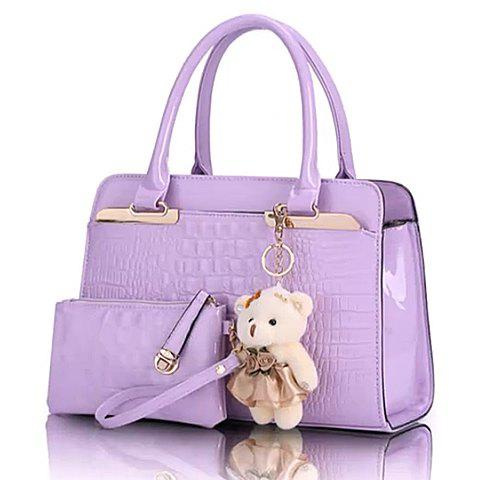 Stylish Embossing and Bear Pendant Design Tote Bag For Women - VIOLET