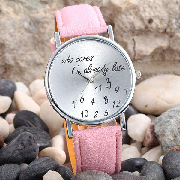 Words and Numbers Dial Leather Band Lady Quartz Wrist Watch - PINK