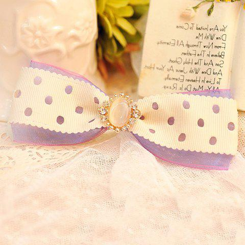 Sweet Cute Women's Dot Pattern Faux Opal Rhinestone Decorated Bowknot Hairpin - AS THE PICTURE
