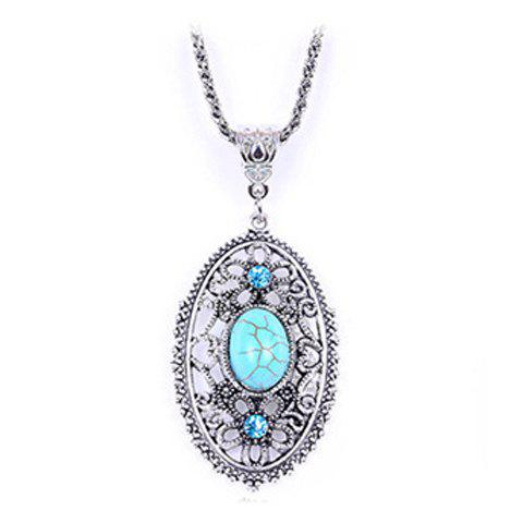 Fake Turquoise Oval Pendant Sweater Chain - COLORMIX