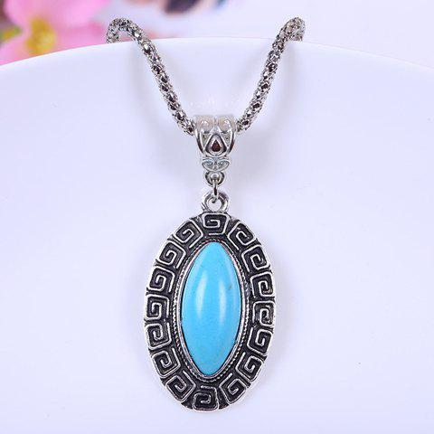 Fashionable Chic Women's Bead Designed Ellipse Sweater Chain Necklace - COLORMIX