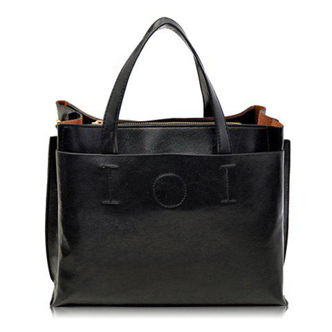 Retro Solid Color and Stitching Design Tote Bag For Women - BLACK
