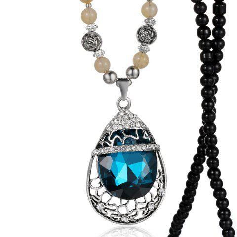 Trendy Rhinestone Embellished Waterdrop Shape Sweater Chain Necklace For Women - COLORMIX
