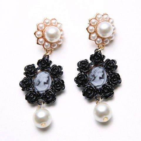 Pair of Romantic Faux Pearl Embellished Rose Earrings For Women - BLACK