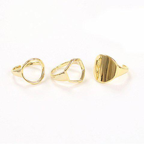 3PCS of Chic Women's Openwork Solid Color Rings