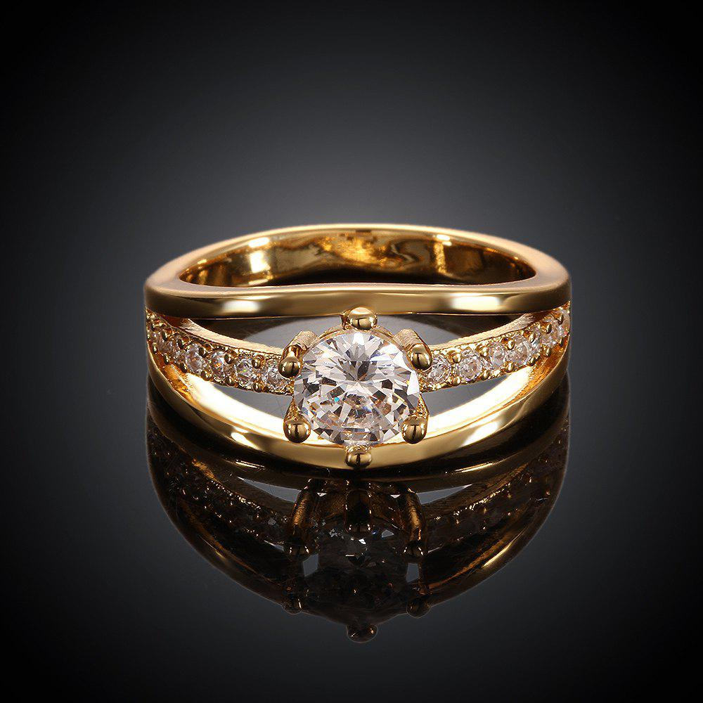 Fashionable Delicate Women's Rhinestone Openwork Pure Color Ring - GOLD US SIZE 8