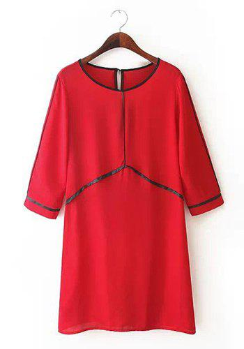 Scoop Neck Black Stripe Splicing Casual Style Short Sleeve Dress For Women - RED S
