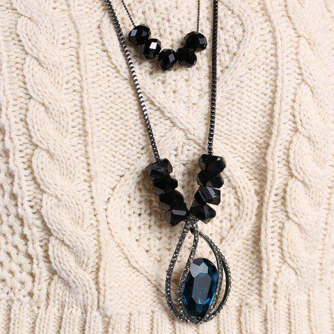 Retro Artificial Gem and Double-Deck Design Women's Sweater Chain Necklace - COLORMIX