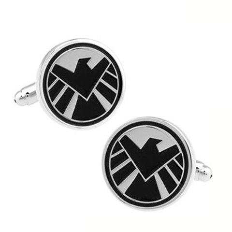 Pair of Fashionable Aegis Bureau Icon Design Cufflinks For Men - COLORMIX
