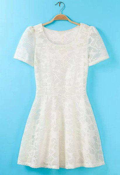 Scoop Neck Solid Color Lace Sweet Style Robe manches courtes pour femmes - Blanc M