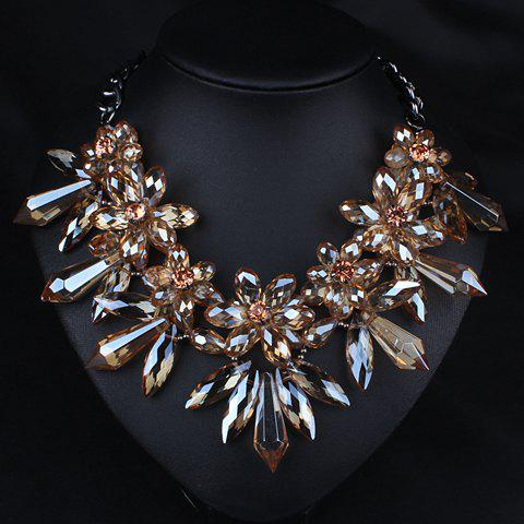 Rhinestone Embellished Flower Necklace - AS THE PICTURE