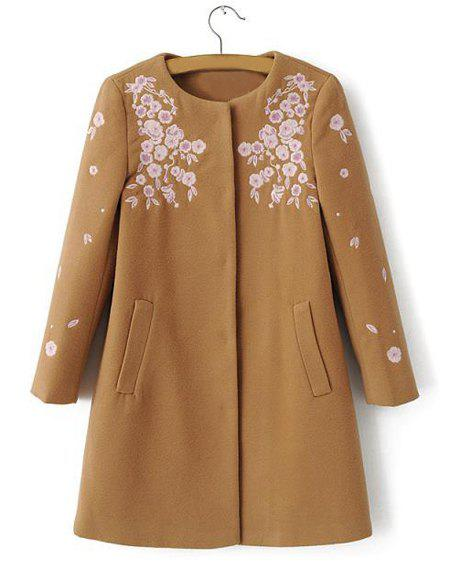 Jewel Neck Peach Blossom Embroidery Casual Style Long Sleeve Coat For Women - CAMEL L