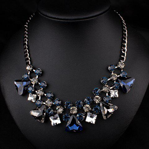 Stylish Waterdrop-Shaped Rhinestone Embellished Pendant Necklace For Women - BLUE