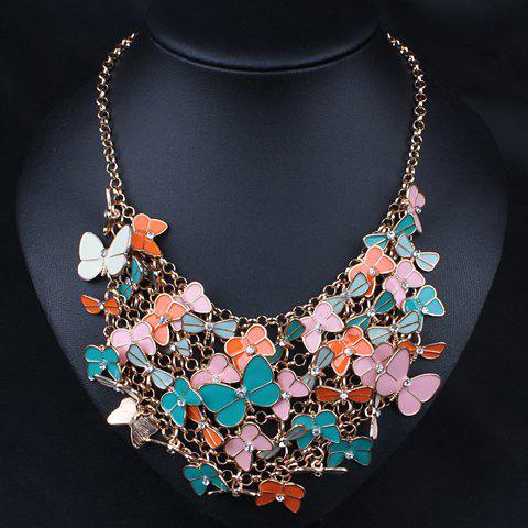 Sweet Diamante Butterfly Embellished Multi-Layer Necklace For Women - COLOR ASSORTED