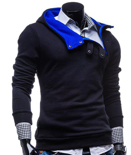 Fashion Color Block Zipper Design Hooded Long Sleeve Thicken Slimming Men's Polyester Hoodie - CADETBLUE M