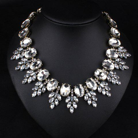 Exquisite Diamante Leaf Necklace For Women - WHITE