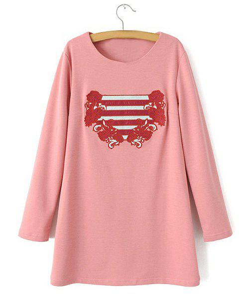 Jewel Neck Stripe Floral Embroidery Casual Style Long Sleeve Dress For Women - PINK L