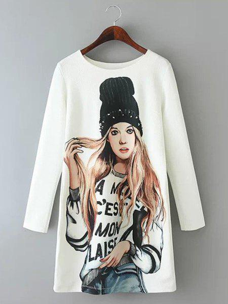 Jewel Neck Figure Print Casual Style Long Sleeve Dress For Women - WHITE S