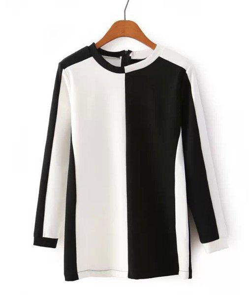 Casual Color Block Round Neck Long Sleeve T-Shirt For Women - WHITE/BLACK S