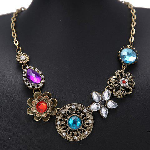 Flower Rhinestone Pendant Necklace - COLORMIX