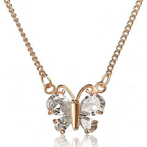 Stylish Delicate Women's Rhinestone Butterfly Necklace - ROSE GOLD