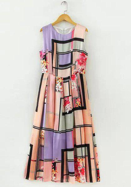 Stylish Floral Print Round Collar Color Block Sleeveless Floor-Length Dress For Women - COLORMIX L