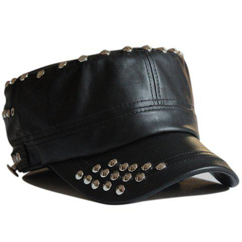 chic stud embellished solid color faux leather hat for
