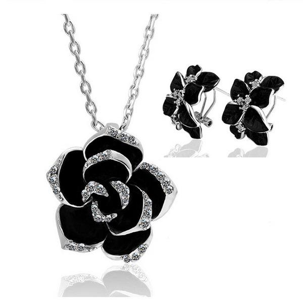 Rhinestone Flower Necklace and Earrings - WHITE GOLDEN