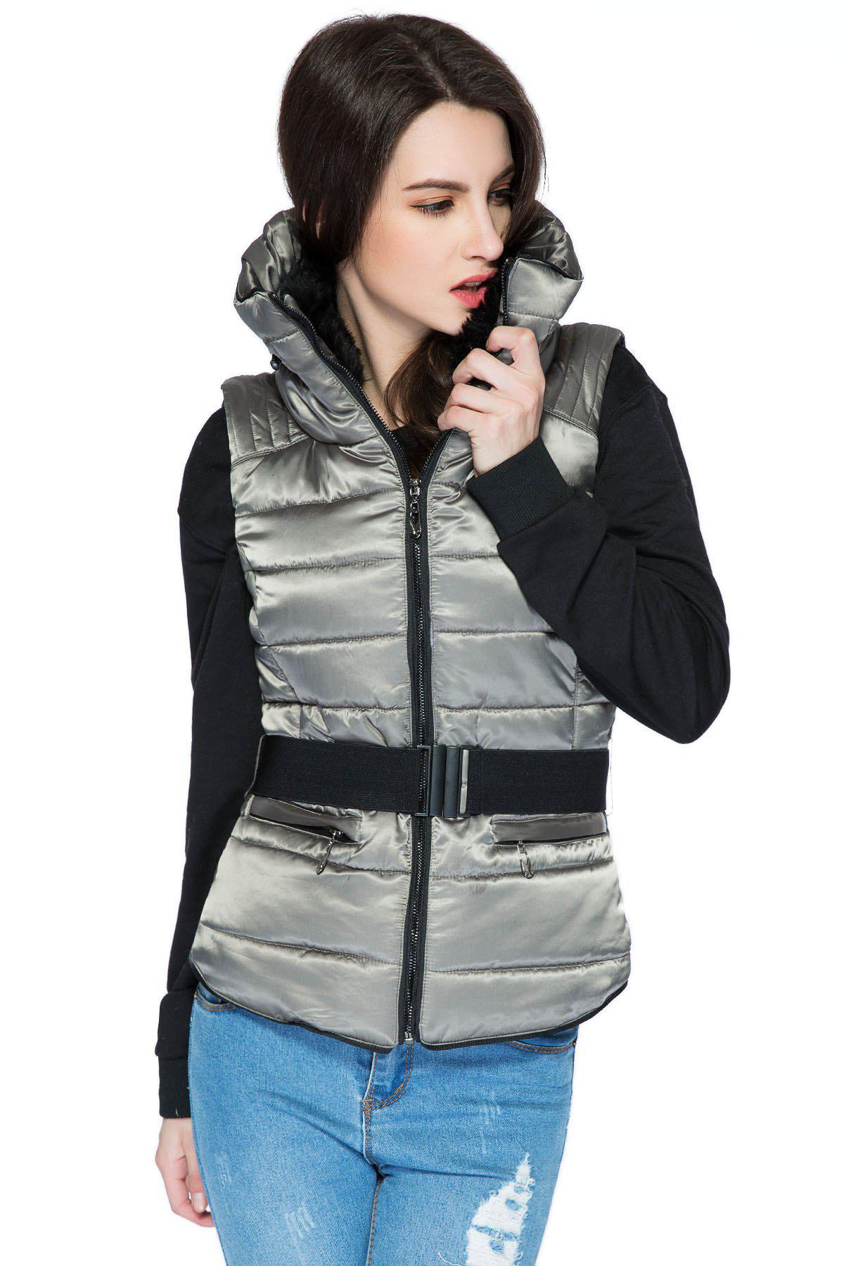 Funnel Collar Quilted Waistcoat - GRAY M