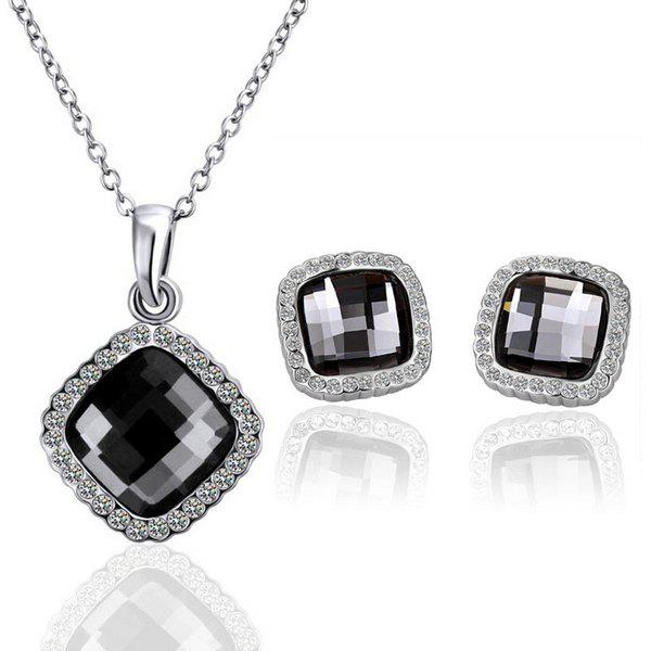 A Suit of Stylish Chic Women's Rhinestone Square Shape Necklace And Earrings