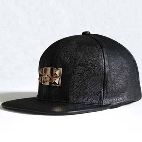 Chic Metal Button Embellished Solid Color Faux Leather Baseball Cap For Women - BLACK