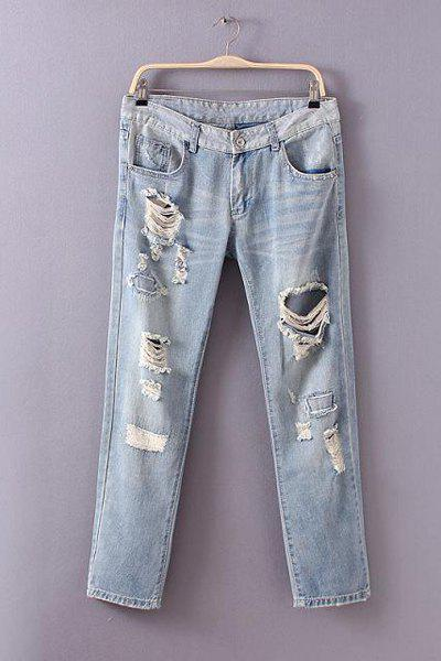 Street Style Bleach Wash Broken Hole Jeans For Women