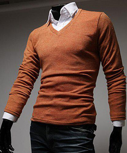 Stylish V-Neck Slimming Solid Color Long Sleeve Polyester T-Shirt For Men - ORANGE M