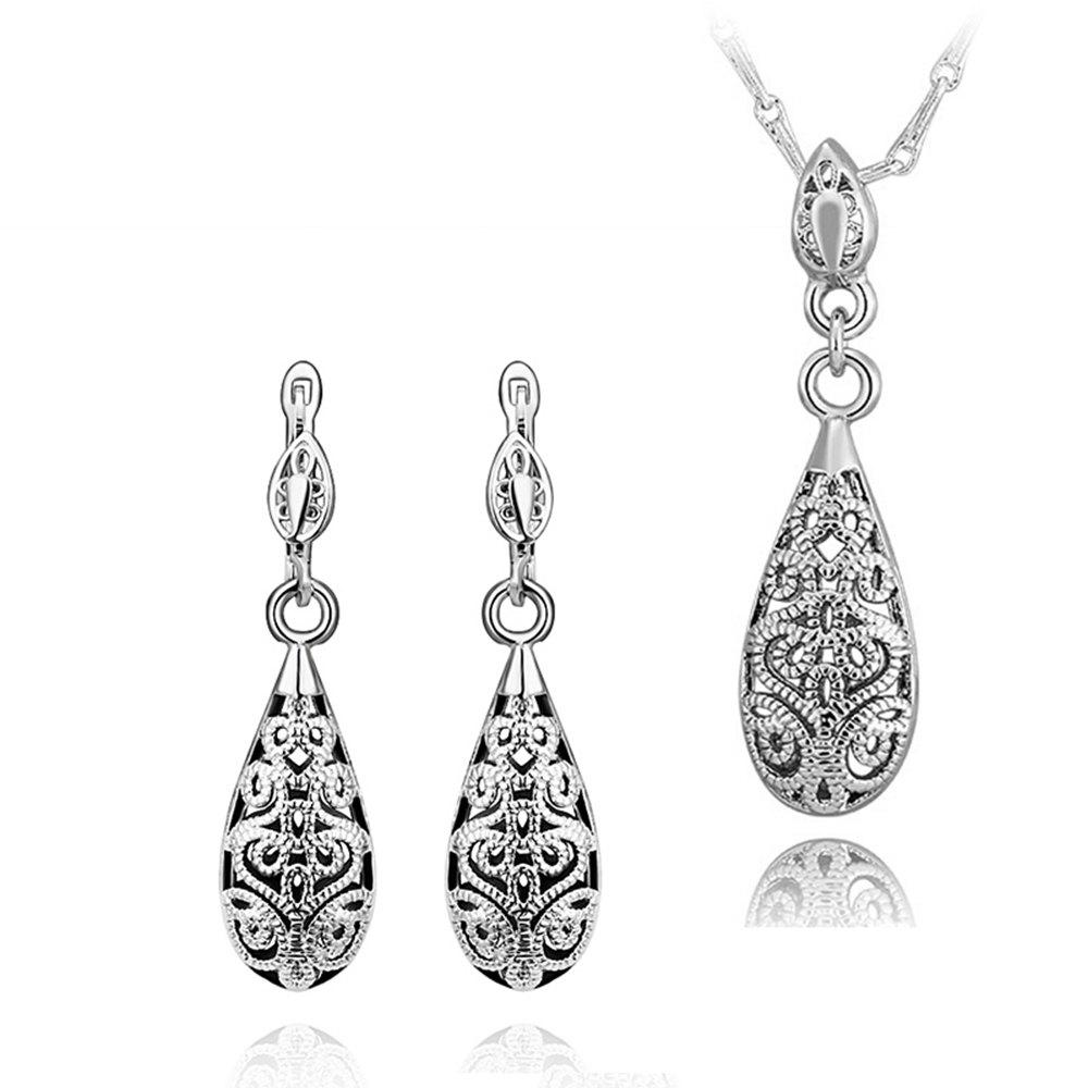 A Suit of Sweet Cute Women's Openwork Carved Drip Necklace And Earrings - WHITE GOLDEN