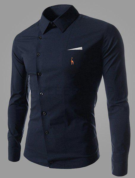 Novel Turn-down Collar Inclined Button Fly Slimming Deer Embroidery Long Sleeves Men's Shirt - DEEP BLUE L