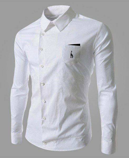 Novel Turn-down Collar Inclined Button Fly Slimming Deer Embroidery Long Sleeves Men's Shirt - WHITE M