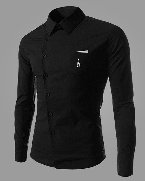 Novel Turn-down Collar Inclined Button Fly Slimming Deer Embroidery Long Sleeves Men's Shirt - BLACK 2XL