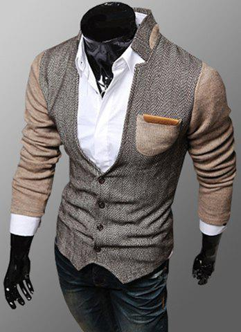 Trendy PU Leather Embellished Pocket Stand Collar Slimming Fabric Splicing Long Sleeves Men's Coat - KHAKI L
