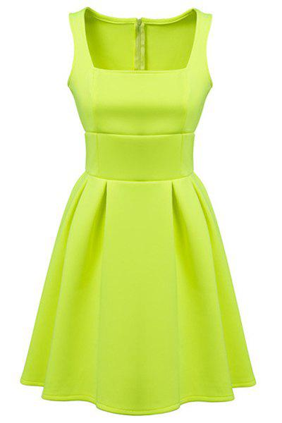 Ladylike Candy Color Square Collar Sleeveless Dress For Women - GREEN L