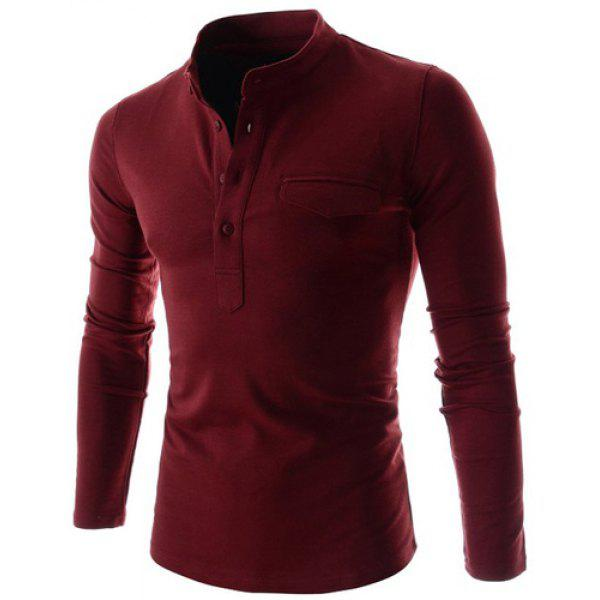 Stylish stand collar slimming pocket and button design for Wine colored mens dress shirts