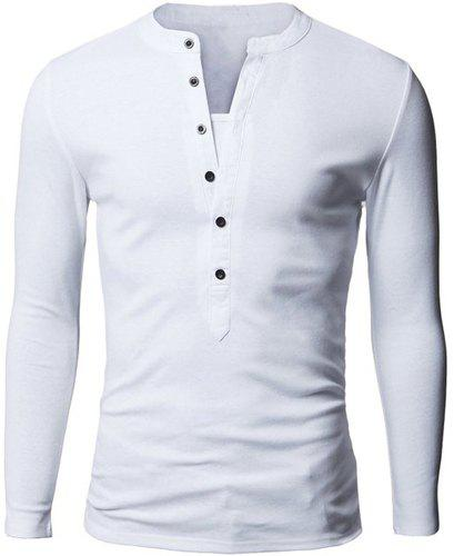 Fashion Button Design Fabric Splicing V-Neck Long Sleeve Slimming Men's Polyester Polo Shirt - WHITE M