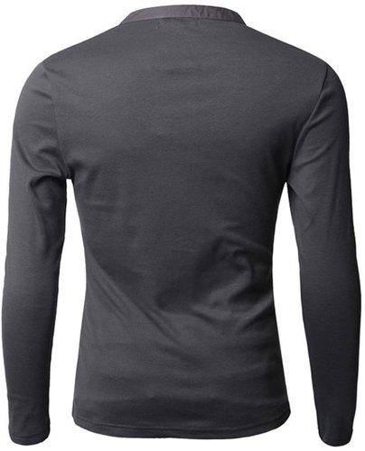 Fashion Button Design Fabric Splicing V-Neck Long Sleeve Slimming Men's Polyester Polo Shirt - DEEP GRAY M