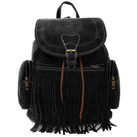 Retro Engraving and Fringe Design Satchel For Women - BLACK