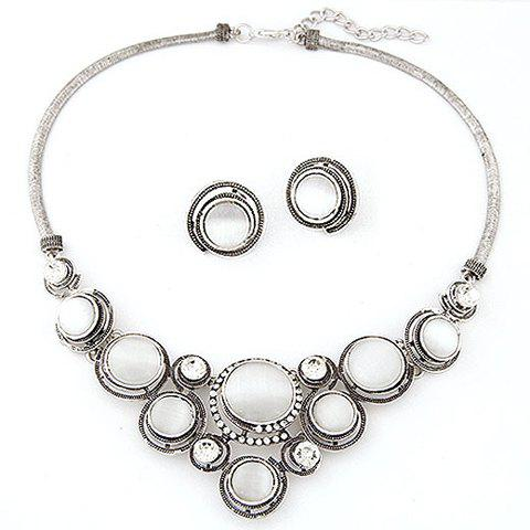 Faux Opal Necklace and Earrings - SILVER