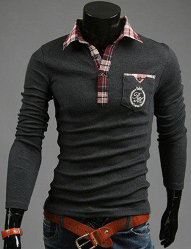 Fashion Pocket Design Plaid Splicing Shirt Collar Long Sleeve Slimming Men's Polyester Polo Shirt