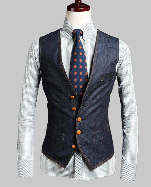Personality V-Neck Fake Pocket Slimming Stripes Splicing Sleeveless Men's Denim Waistcoat - DEEP BLUE 2XL