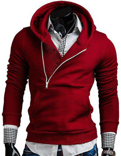 Fashion Oblique Zipper Design Hooded Long Sleeve Slimming Men's Polyester Hoodie - RED L