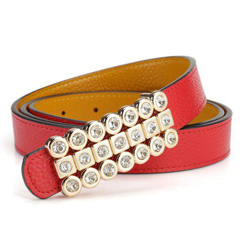 Chic Rhinestone Embellished Geometric Shape Buckle Belt For Women - RANDOM COLOR